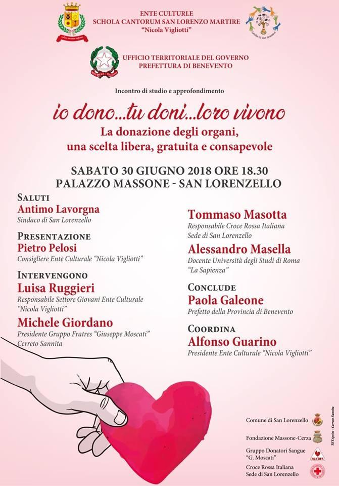 Io dono…Tu doni…Loro vivono – incontro sulla donazione degli organi